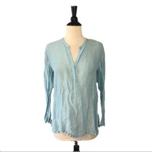 Eileen Fisher Blue Linen Silk Henley